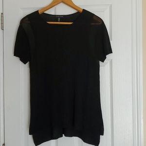 Eileen Fisher black semi sheer short sleeve top XL